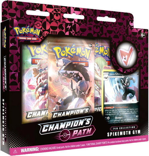 Pokemon Trading Card Game Champion's Path Spikemuth Gym Pin Collection [3 Booster Packs, Promo Card & Pin!]