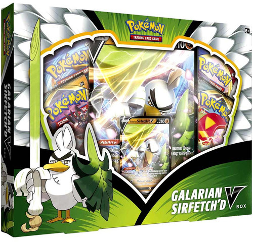 Pokemon Trading Card Game Galarian Sirfetch'd V Box [4 Booster Packs, Promo Card & Oversize Card!]