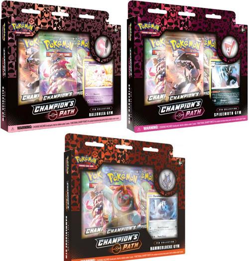 Pokemon Trading Card Game Champion's Path Hammerlocke Ballonlea & Spikemuth Gyms Set of 3 Pin Collections