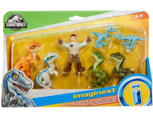 Fisher Price Jurassic World Imaginext Raptor Trainer Owen Exclusive 7-Figure Gift Set [Includes Blue, Charlie, Delta & 2 Compy Dinosaurs!]