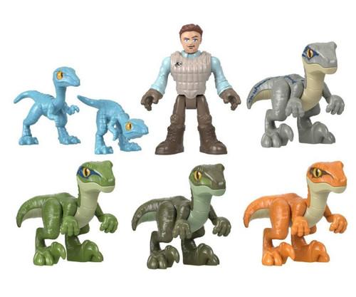 Fisher Price Jurassic World Imaginext Raptor Trainer Owen 7-Figure Gift Set [Includes Blue, Charlie, Delta & 2 Compy Dinosaurs!]
