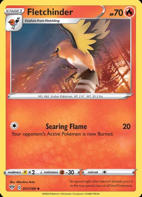 Pokemon Darkness Ablaze Uncommon Fletchinder #31