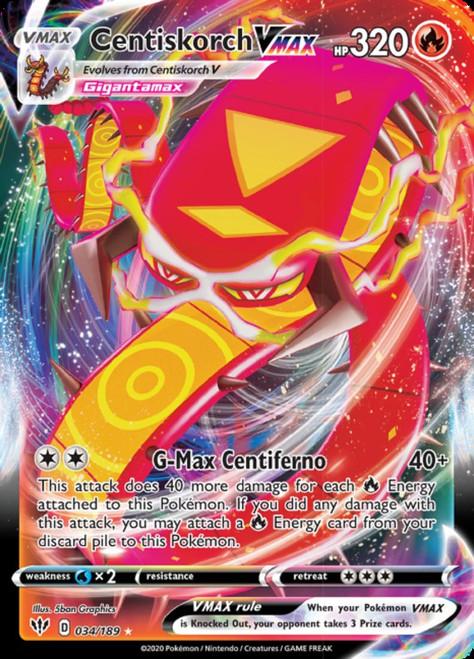 Pokemon Sword & Shield Darkness Ablaze Ultra Rare Centiskorch VMAX #34