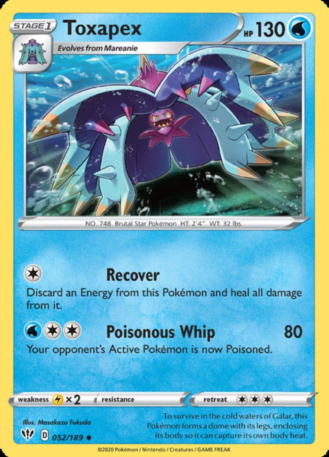 Pokemon Darkness Ablaze Uncommon Toxapex #52