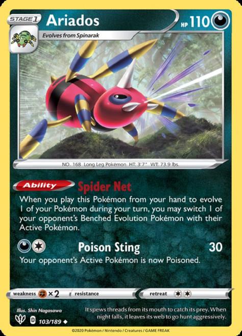 Pokemon Darkness Ablaze Uncommon Ariados #103