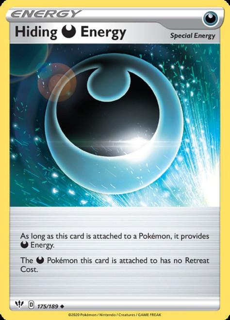 Pokemon Sword & Shield Darkness Ablaze Uncommon Hiding -Darkness Energy #175