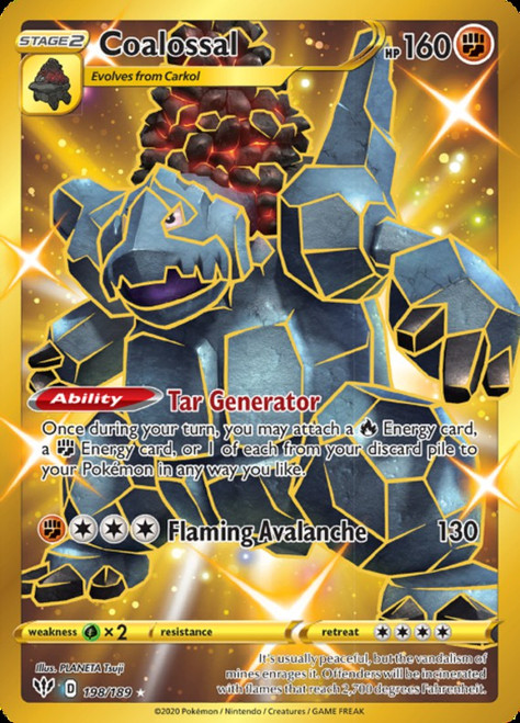 Pokemon Sword & Shield Darkness Ablaze Secret Rare Coalossal #198