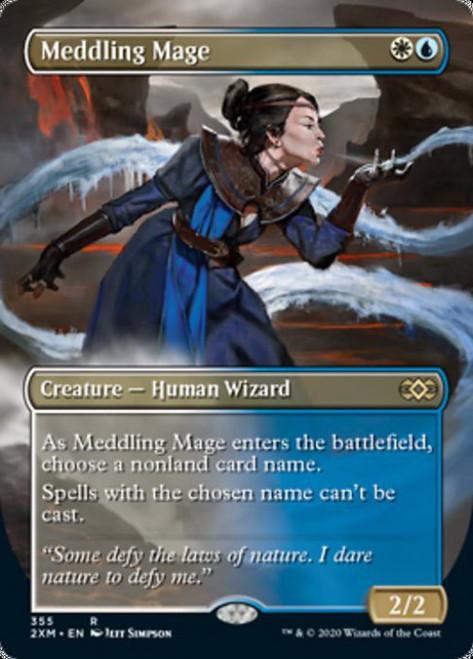 MtG Double Masters Rare Meddling Mage #355 [Alternate Art Borderless, Foil]