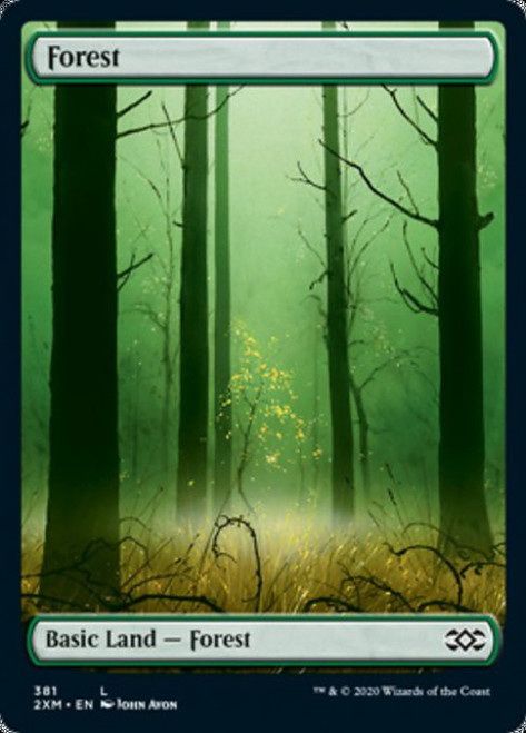 MtG Double Masters Land Forest #381 [Full-Art, Foil, John Avon]