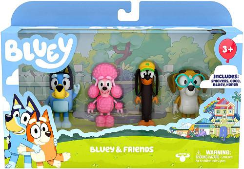 Bluey & Friends Mini Figure 4-Pack [Snickers, Coco, Bluey & Honey]