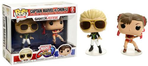 Funko Marvel Gamerverse Marvel vs Capcom: Infinite POP! Games Captain Marvel vs Chun-Li Exclusive Vinyl Figure 2-Pack [Green & White Captain Marvel, Red Chun-Li, Damaged Package]