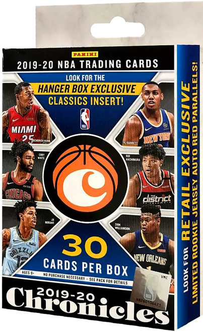 NBA Panini 2019-20 Chronicles Basketball Exclusive Trading Card HANGER Box [30 Cards]