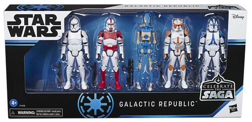 Star Wars Celebrate the Saga Galactic Republic Action Figure 5-Pack [501st Legion Trooper, Phase I Clone Trooper, Shock Trooper, Commander Cody & OOM-10]