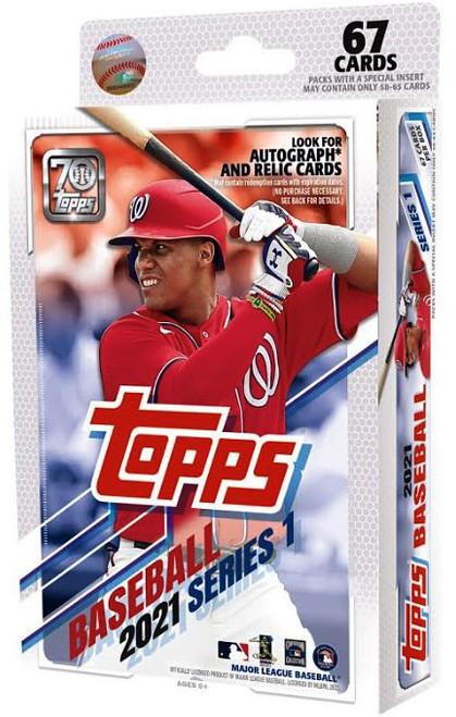 MLB Topps 2021 Series 1 Baseball Trading Card HANGER Box [67 Cards]
