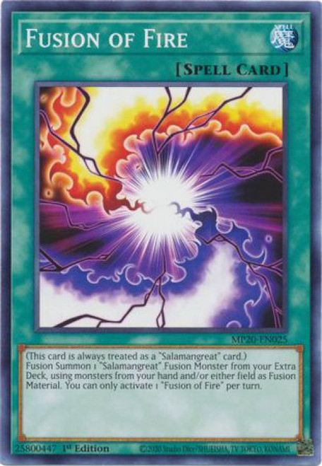 YuGiOh 2020 Tin of Lost Memories Common Fusion of Fire MP20-EN025