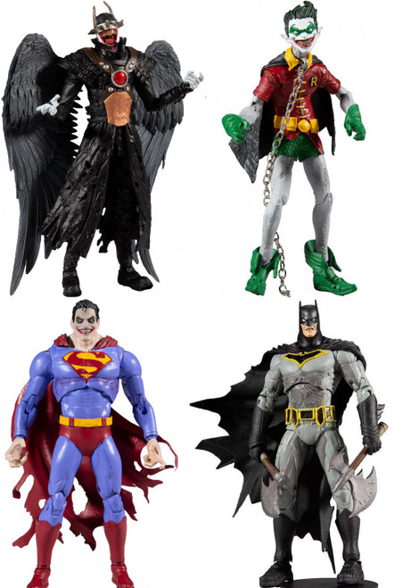 McFarlane Toys DC Multiverse Build Merciless Series Batman Who Laughs, Robin Crow, Superman Infected & Batman Set of 4 Action Figures