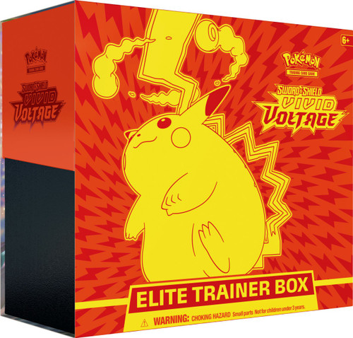 Pokemon Trading Card Game Sword & Shield Vivid Voltage Gigantamax Pikachu Elite Trainer Box [8 Booster Packs, 65 Card Sleeves, 45 Energy Cards & More]