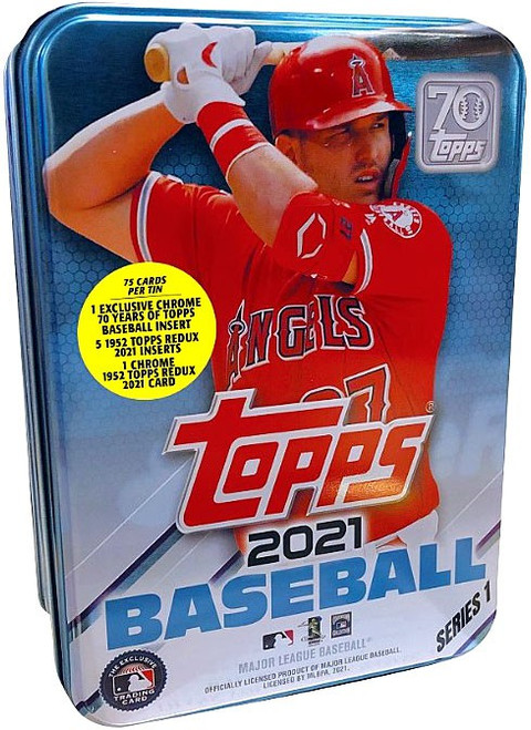MLB Topps 2021 Series 1 Baseball Mike Trout Trading Card Tin Set [75 Cards]