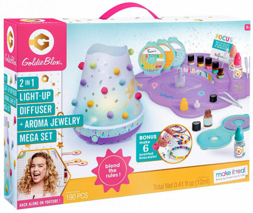 Goldie Blox 2-in-1 Light Up Diffuser & Aroma Jewelry Mega Set [Damaged Package]