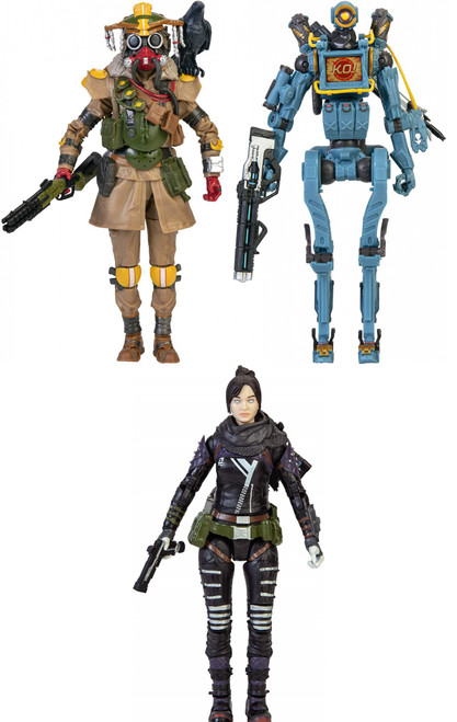 Apex Legends Series 1 Bloodhound, Pathfinder & Wraith Set of 3 Action Figures