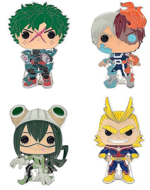 Funko My Hero Academia POP! Pins Deku, Shoto Todoroki, Tsuyu Asui & All Might Set of 4 Large Enamel Pins (Pre-Order ships May)