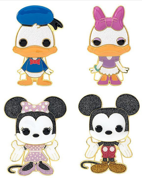 Funko Disney POP! Pins Donald Duck, Daisy Duck, Minnie Mouse & Mickey Mouse Set of 4 Large Enamel Pins (Pre-Order ships March)