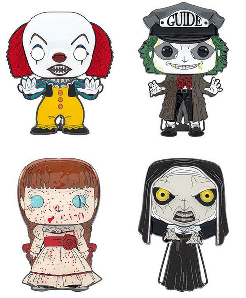 Funko Horror POP! Pins Pennywise (1990), Beetlejuice, Annabelle & The Nun Set of 4 Large Enamel Pins (Pre-Order ships November)