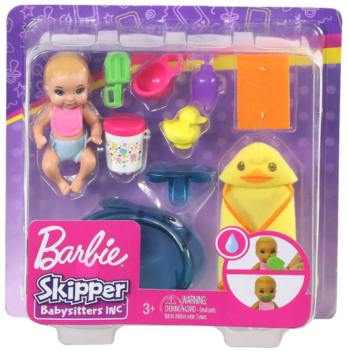 Barbie Skipper Babysitters Inc Feeding & Bath TIme Mini Doll Playset