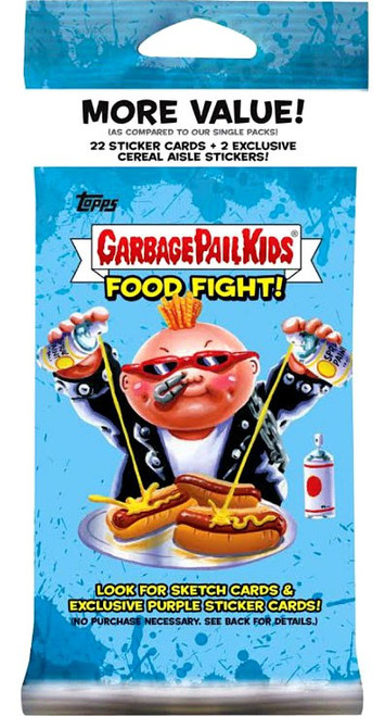 Garbage Pail Kids Topps 2021 Food Fight Trading Card VALUE Pack [22 Sticker Cards + 2 Exclusive Cereal Aisle Stickers]