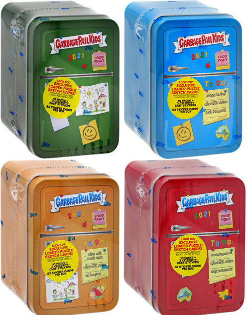 Garbage Pail Kids Topps 2021 Series 1 Food Fight (Blue, Green, Red & Orange) Set of 4 Trading Card Refrigerator Tins [10 Packs + 3 Exclusive Celebrity Chef Stickers Per Tin!]