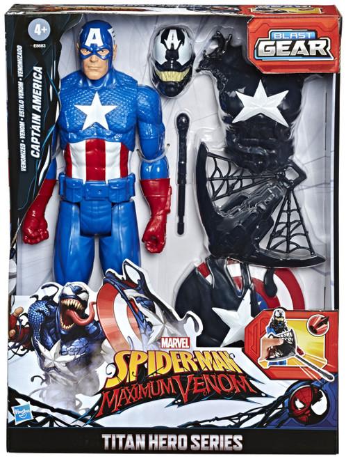 Marvel Spider-Man Maximum Venom Titan Hero Series Blast Gear Venomized Captain America Action Figure