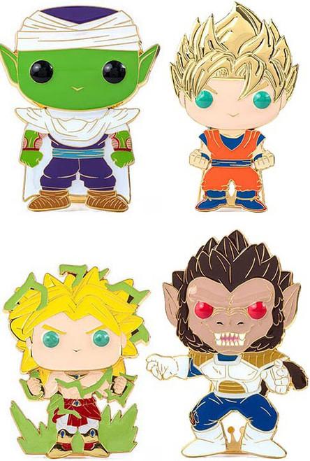 Funko Dragon Ball Z POP! Pins Super Saiyan Goku, Piccolo, Great Ape Vegeta & Broly Set of 4 Large Enamel Pins (Pre-Order ships January)