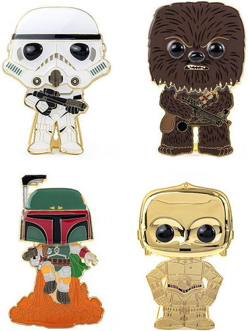 Funko Star Wars POP! Pins Stormtrooper, Chewbacca, Boba Fett & C-3PO Set of 4 Large Enamel Pins (Pre-Order ships January)