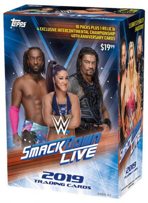 WWE Wrestling Topps 2019 Smack Down Live Trading Card BLASTER Box [10 Packs + 1 Relic Card!]