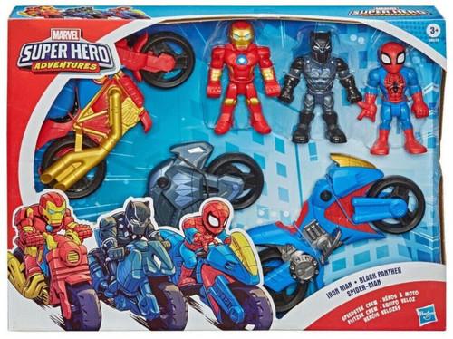 Marvel Playskool Heroes Super Hero Adventures Iron Man, Black Panther & Spider-Man Exclusive Action Figure & Vehicle 3-Pack [Speedster Crew]