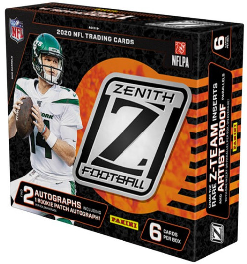 NFL Panini 2020 Zenith Football Exclusive Trading Card HOBBY Box [1 Pack, 1 Rookie Patch Autograph, 1 Autograph, 1 Memorabilia Card, 1 Parallel / Insert & 1 Rookie Card!]