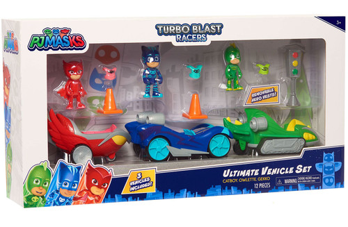 Mega Bloks Disney Junior PJ Masks Turbo Blast Racers Catboy, Owlette & Gekko Exclusive Ultimate Vehicle Set