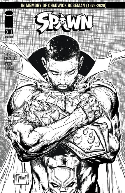 Image Comics Spawn #311 In Memory of Chadwick Boseman Comic Book [Variant Cover D Black & White]