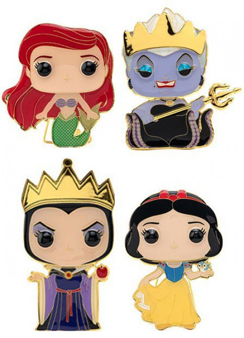 Funko Disney POP! Pins Ariel, Ursula, Snow White & Evil Queen Set of 4 Large Enamel Pins Wave 3