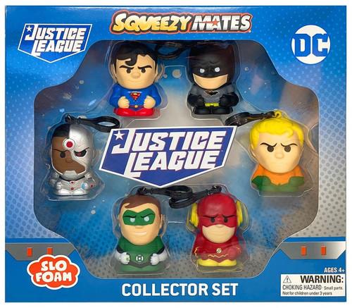 DC Squeezy Mates Justice League Super Man, Batman, Aquaman, Cyborg, Green Lantern & The Flash Squeeze Toy 6-Pack
