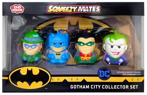 DC Squeezy Mates Gotham City Collector Set Squeeze Toy 4-Pack [Riddler, Batman, Robin & The Joker]