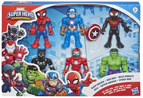 Marvel Playskool Heroes Super Hero Adventures Epic Hero Team Exclusive Action Figure 6-Pack [Black Panther, Iron Man, Miles Morales, Hulk, Captain America & Spider-Man]