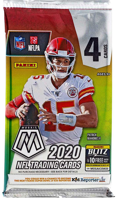 NFL Panini 2020 Mosaic Football Trading Card RETAIL Pack [4 Cards]