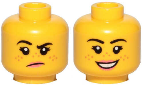 Female, Freckles, Pink Lips, Grumpy / Smile Minifigure Head [Dual Sided Loose]