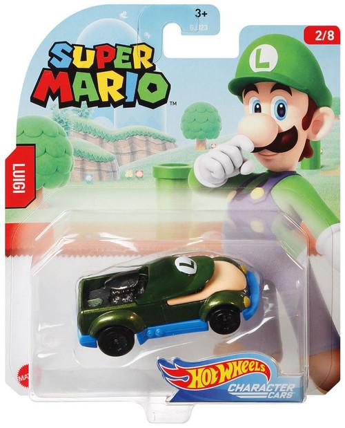 Hot Wheels Super Mario Character Cars Luigi Diecast Car #2/8 [2020]