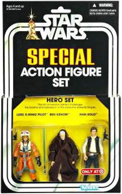 Star Wars A New Hope Vintage Special Hero Set Exclusive Action Figure Set [Luke X-Wing Pilot, Ben Kenobi, Han Solo]