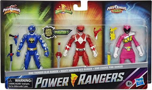 Power Rangers Beast Morphers Dino Thunder Blue Ranger, Mighty Morphin Red Ranger & Dino Charge Pink Ranger Exclusive Action Figure 3-Pack