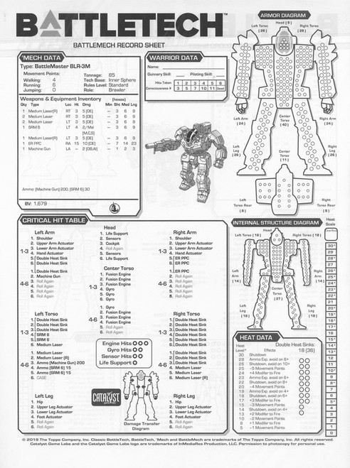 BattleTech Rein: Record Sheet Book #1 Game Accessory [48 Pages]