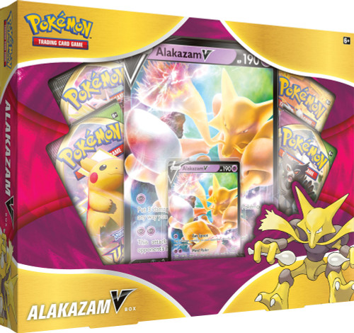 Pokemon Trading Card Game Sword & Shield Alakazam V Box [4 Booster Packs, Promo Card & Oversize Card]