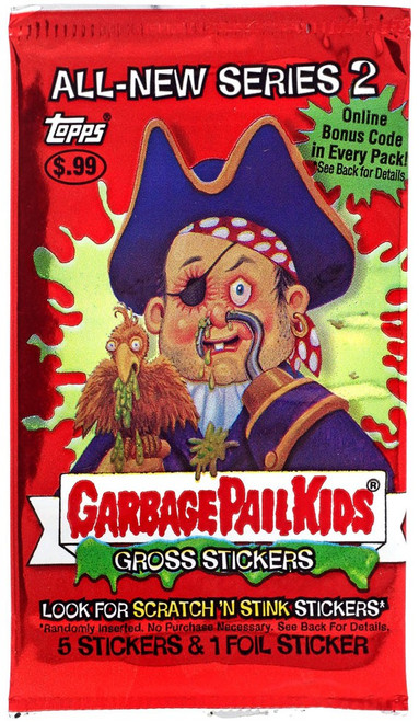Garbage Pail Kids Topps All-New Series 2 Trading Card Sticker Pack [5 Stickers]